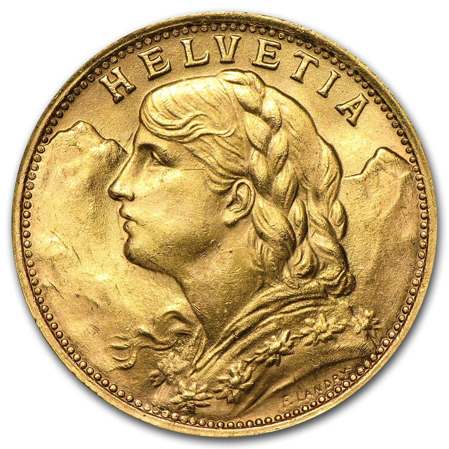 Swiss Gold 20 Francs (Almost Uncirculated)